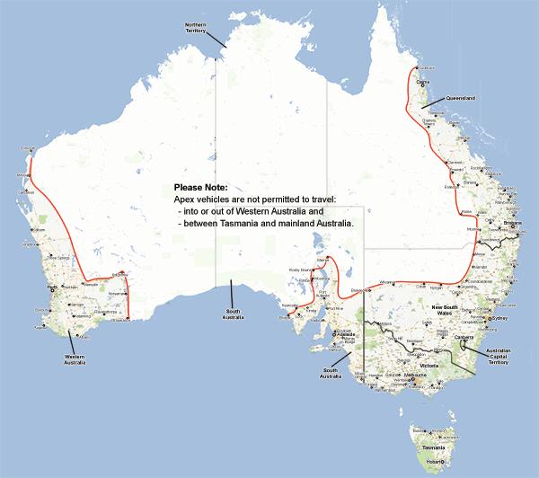 australia distance map